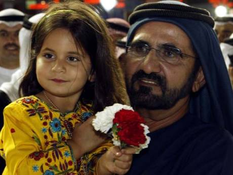 Shaikh Mohammad Bin Rashid Al Maktoum along with his daughter