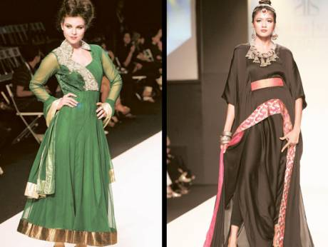 Models present creations by designers Aarti Vijay (left) and Surbhi Jaggi (right)