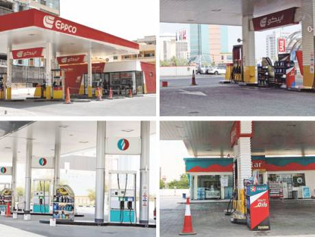 Cars jam an Adnoc pump station in Sharjah