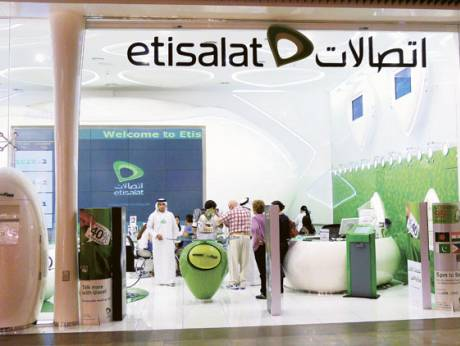 An etisalat retail store in the Dubai Mall