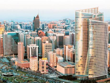 A view of the Abu Dhabi skyline with the headquarters of Adia