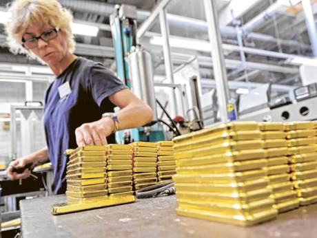 Gold ingots are prepared for shipping at the Argor-Heraeus gold refinery in Mendrisio, Switzerland