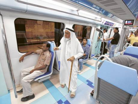 Passengers on the new Green Line of Dubai Metro