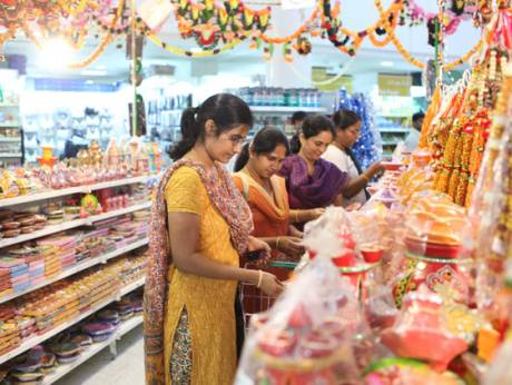 Shoppers at a supermarket in Bur Dubai on the eve of Diwali