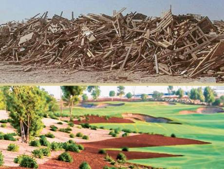Timber waste from construction in Masdar City