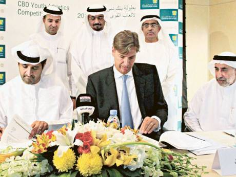 The Commercial Bank of Dubai (CBD) and the Dubai Sports Council (DSC) officials sign a deal