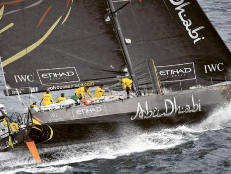 Abu Dhabi Ocean Racing's yacht Azzam, skippered by Britain's Ian Walker, in action after