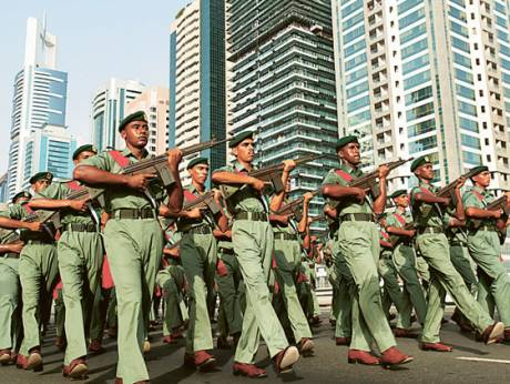 A Dubai Police parade along Shaikh Zayed Road in a show of strength