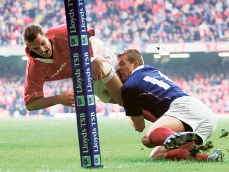Dafydd James of Wales, left, during a Six Nations match in Cardiff
