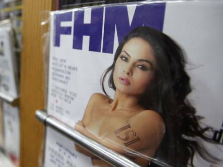 A copy of the December edition of FHM India is on display at a magazine store in Bangalore