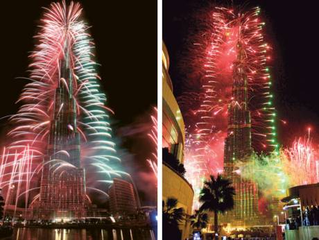 Fireworks illuminate the Burj Khalifa, the tallest man-made structure in the world