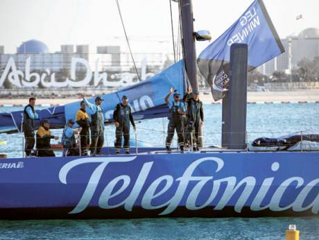 Telefonica team at the Volvo Ocean Race village in Abu Dhabi