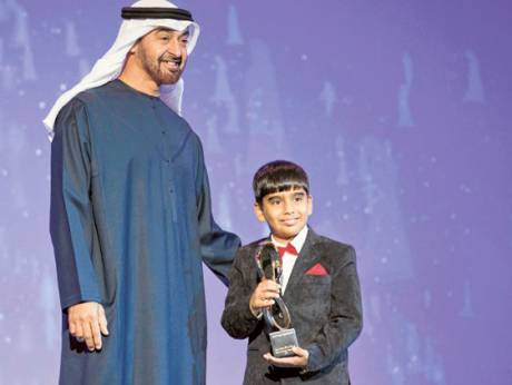 General Shaikh Mohammad Bin Zayed Al Nahyan presents a 2011 Abu Dhabi Award to Abdul Mugeeth