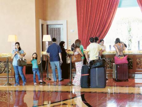Tourists at the Atlantis hotel on the Palm Jumeirah