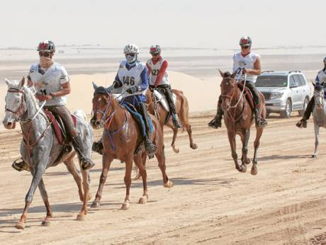 Shaikh Hazza, the winner of The President's Cup endurance ride, finishing the last loop