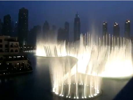 A screen shot of Dubai Fountain tribute