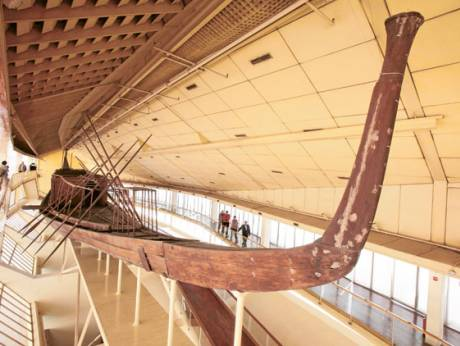 One of the two wooden boats of King Khufu is displayed at a special museum