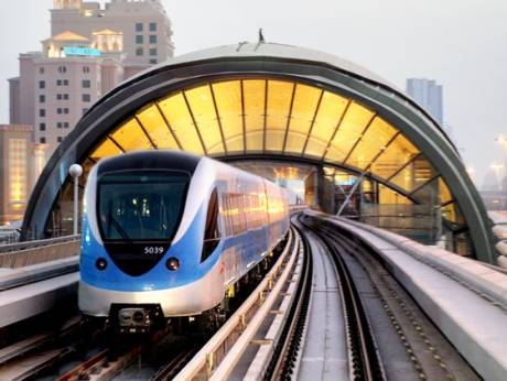 A Dubai Metro train operates on the Red Line