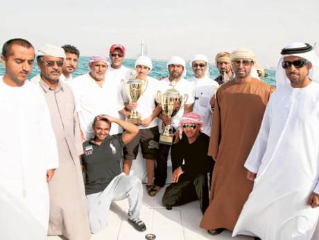 The winners of the Dubai Traditional 43ft Dhow Sailing Championship