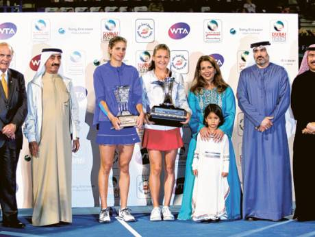 Agnieszka Radwanska with the trophy at the Dubai Tennis Stadium