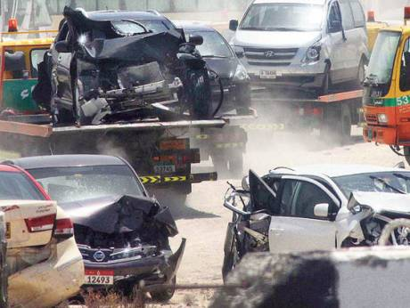 Vehicles involved in crashes lying at the Sahma Police Station yard