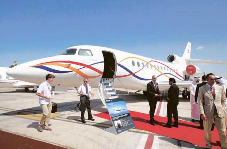 a-falcon-7x-private-jet-of-france-on-display-at-the-abu-dhabi-air-expo