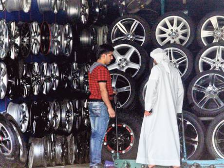 A shop selling used tyres in Sharjah